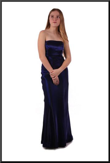 Coarse velvet effect evening dress with satinette underskirt - very dark purple