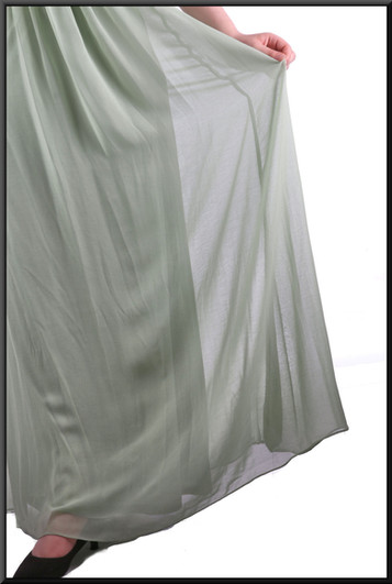 """Greek goddess flowing chiffon over satinette dress with floral design single strap & ruched bodice,lime, size 12, model height 5'7"""""""