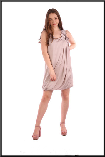 """Polyester seventies / eighties style  mini dress with floral embellishment on left shoulder - dove grey, size 12; model height 5'7"""""""