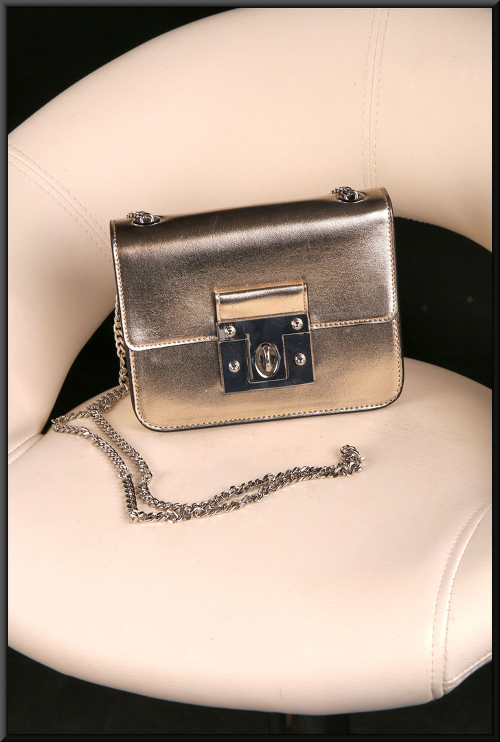 White gold colour metallic shoulder bag with metal strap