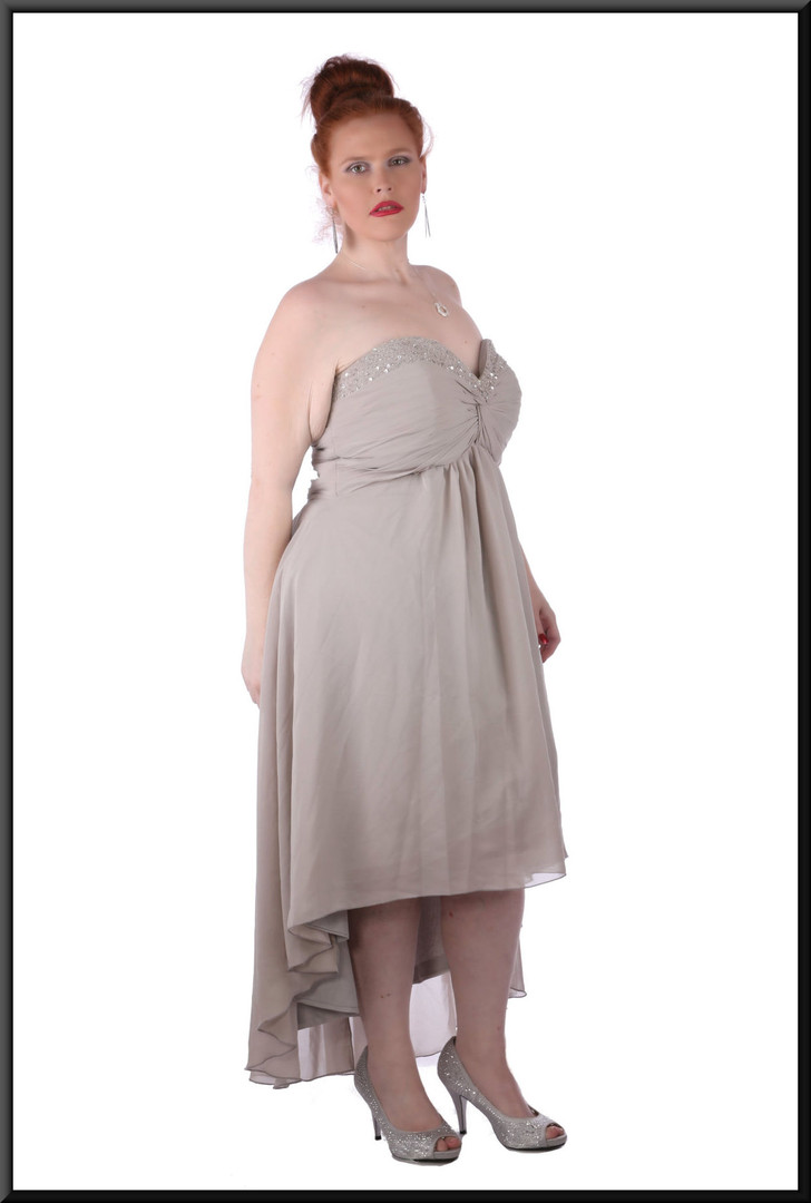 """Medium length strapless dress, ruched boob effect diamanté trim calf length with train / corset tie, size 20 in grey. Model height 5'7"""""""