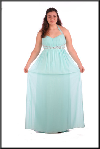 Full length chiffon over satinette evening dress with sequinned bodice and straps / 1 of 2 - pale blue, size 16; model height 5'8""