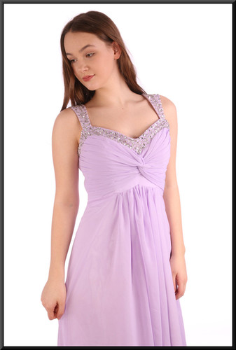 """Ankle length chiffon over satinette evening dress, embellished bodice / straps, corset tie - lavender, size 12. Model height 5'7"""""""