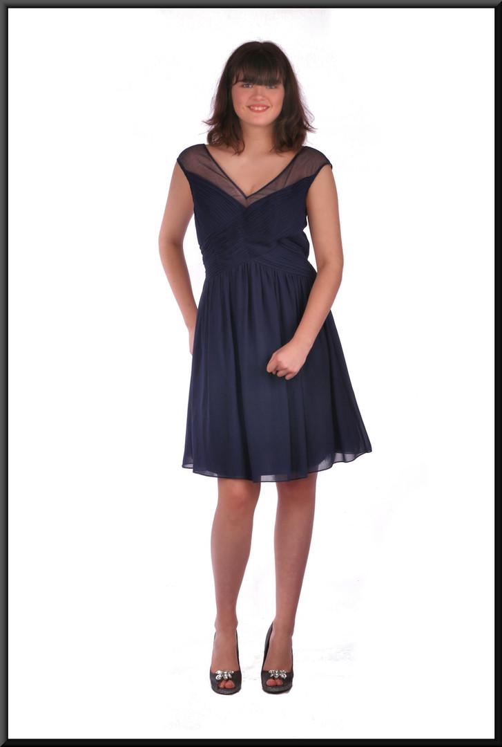 "Chiffon over net skirt over taffeta cocktail mini dress - navy blue, size 12. Model height 5'10"""
