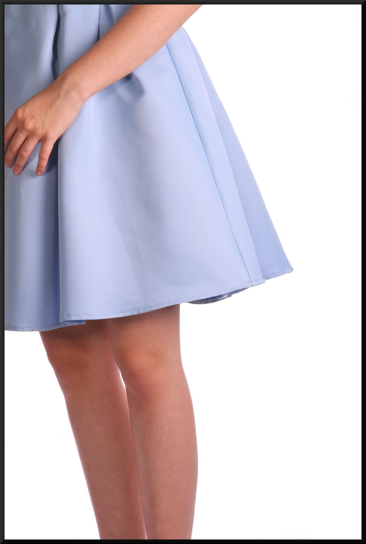 """Mini dress pleated below the waist band to a slightly flared skirt with net under-skirt, mid blue, size 12, model height 5'10"""""""