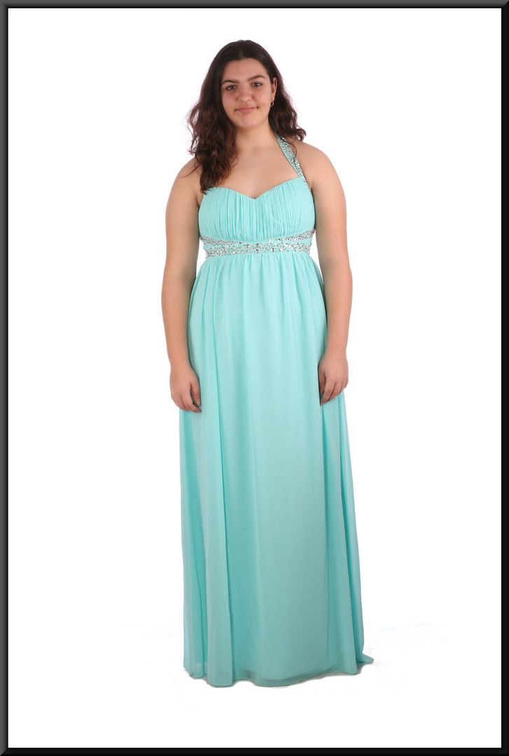 Full length chiffon over satinette evening dress with sequinned bodice and straps - pale blue , size 16 - 2 of 2; model height 5'8""