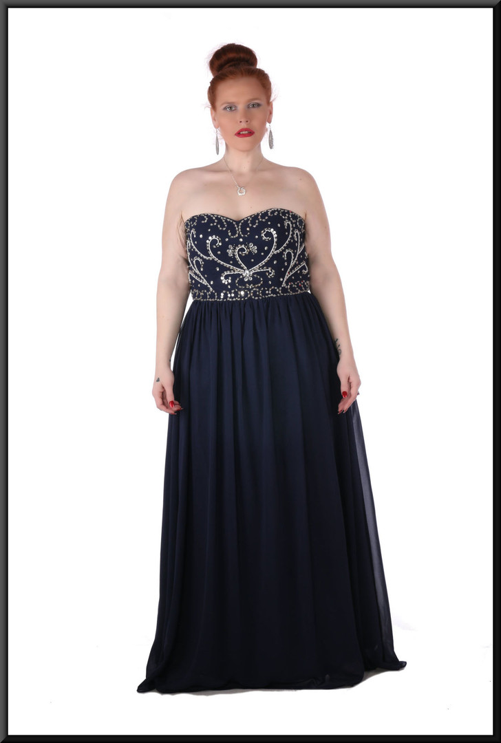 Strapless full length, full skirt, petticoats, corset rear ties dress, size 20 in navy blue with sequins.  Model height 5'7""