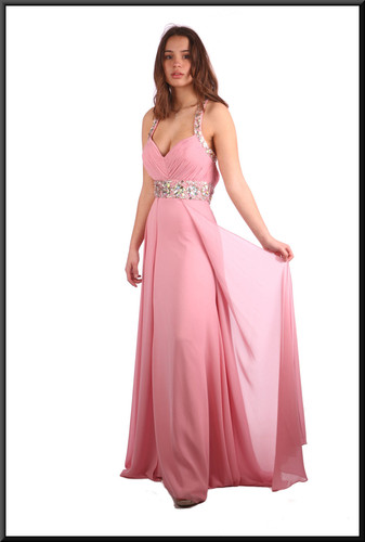 Full length satinette evening dress with split net overlays and jewelled bodice - pink; model height 5'7""