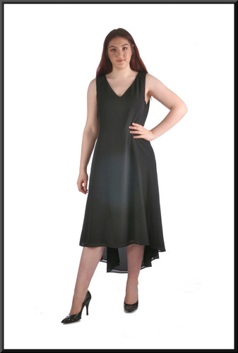 Mid calf variable-length hemline cocktail dress, size 16, black