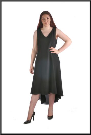 Mid calf variable-length hemline cocktail dress, size 16, black