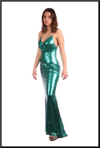 "Full length sequinned net over polyester evening dress with slight train - mermaid green, size 8 / 10. Model height 5'7"""