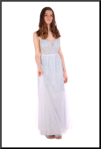 """Full length floral embellishment chiffon over satinette evening dress with translucent panels - pale blue, size 12. Model height 5'7"""""""
