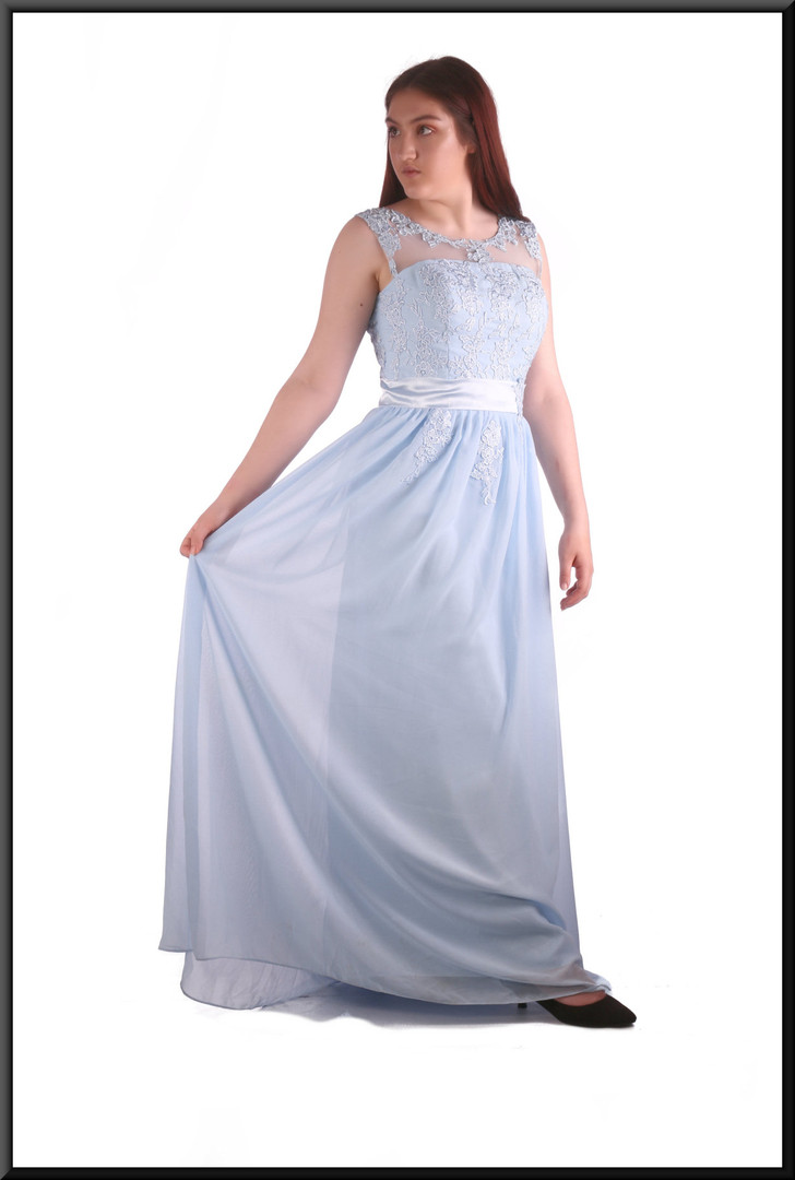 Hand made full length chiffon over satinette evening/bridesmaid dress with see-through shoulder panels, size 12, model height 5'7""