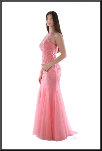 Full length slim fit dress with diamanté  and net bodice and flared multi-layer net skirt - salmon pink