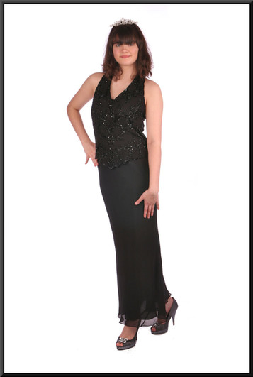 Ankle length slim fit evening dress chiffon over satinette with bejewelled bodice, black.  Tiara available separately.