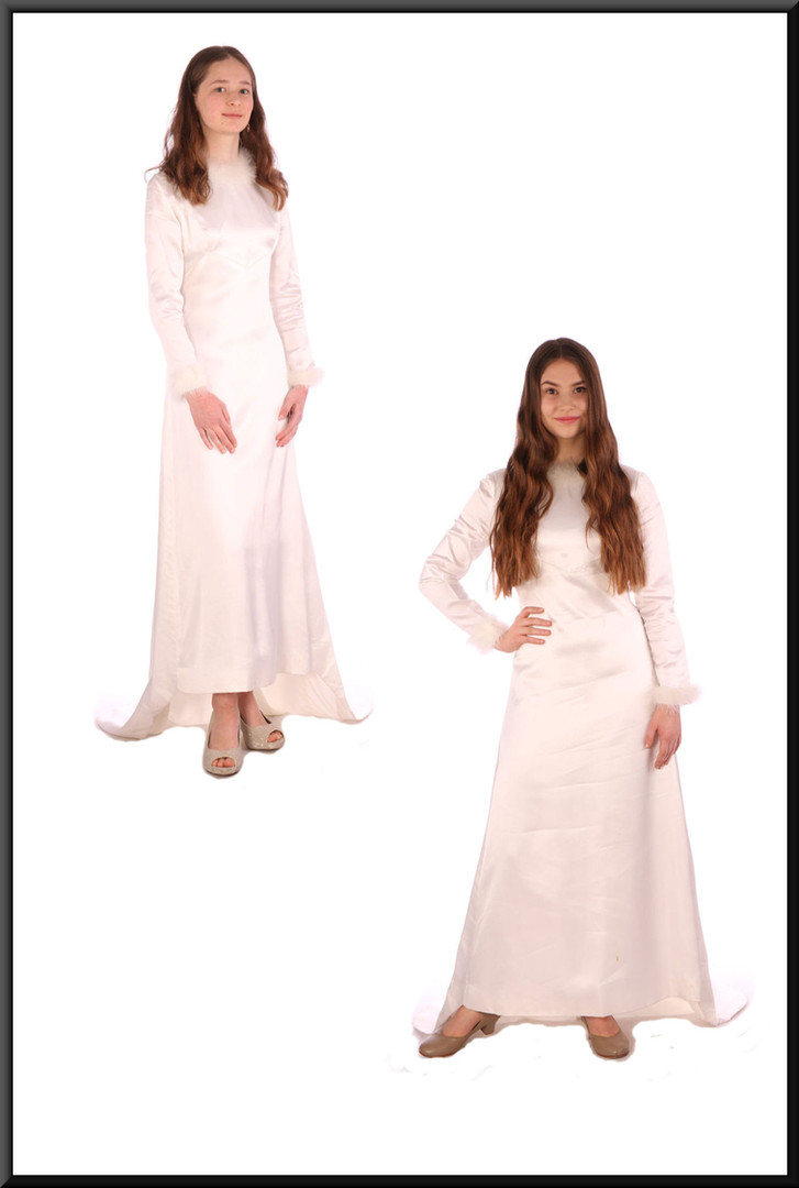 "Vintage 1972 hand-made wedding dress with train – white with a hint of ivory, size 6 / 8.  Model heights 5'6"" (left) and 5'5"" (right)"