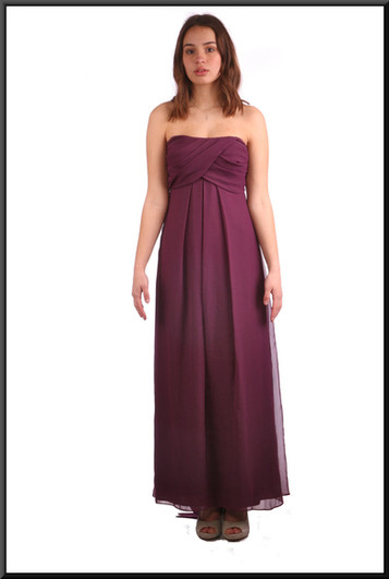 """Ankle length double layer net over satinette evening dress with long tie - plum, size 8. Model height 5'7"""""""