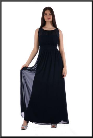 "Classic full length 100% polyester evening dress with net over-skirt - royalblue, size 10. Model height 5'10"""