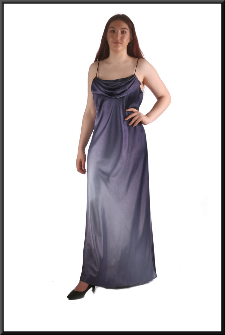 Velvet effect full length slightly iridescent 1920's style evening dress, blue, size 12, model height 5'7""