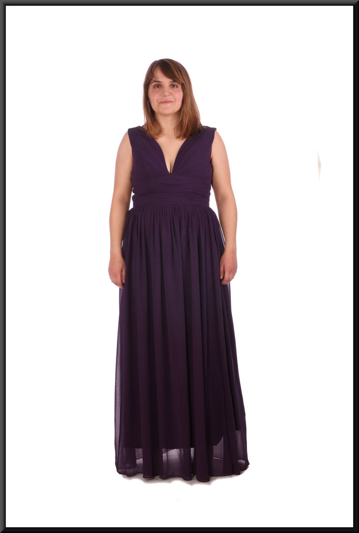 Full skirt long chiffon over satinette evening dress with corset tie - maroon, size 12; model height 5'4""