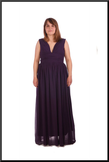 """Full skirt long chiffon over satinette evening dress with corset tie - maroon, size 12; model height 5'4"""""""