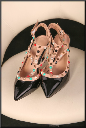 Ladies' black patent evening sandals with skin-tone straps with coloured beads size 5