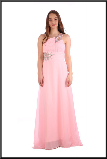 """Full length chiffon evening dress with train, corset tie and satinette mini underskirt - pink, size 12 / 14. Model height 5'7"""""""