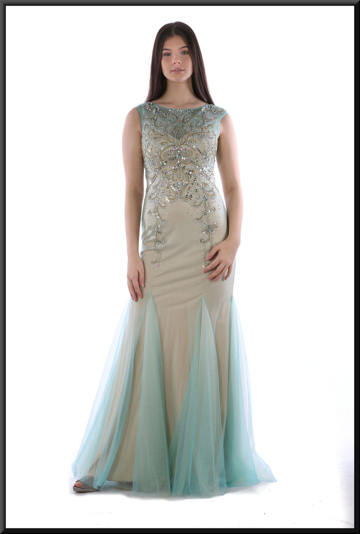 """Full length slim fit evening dress in pale gold polyester with pale blue net flares, bodice and upper back.  Size 6.  Model height 5'10"""""""