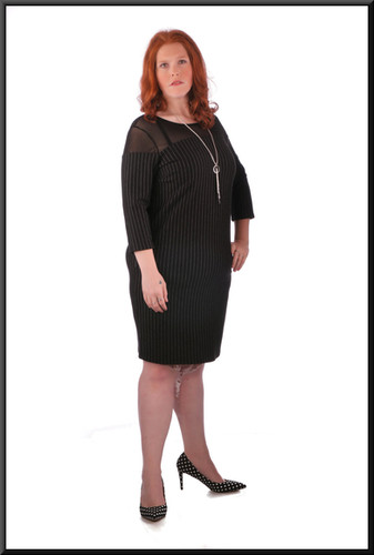 """Knee length pin-stripe dress with mesh translucent shoulders and sleeves, black with white pin stripe, size 20, model height 5'7"""""""