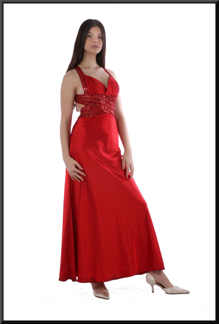 Ankle length poly-satin red dress with sequinned bodice and crossover rear straps, size 8.  Model height 5'10""