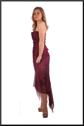 """Strapless calf length cocktail dress with net flares - burgundy, size 10. Model height 5'3"""""""