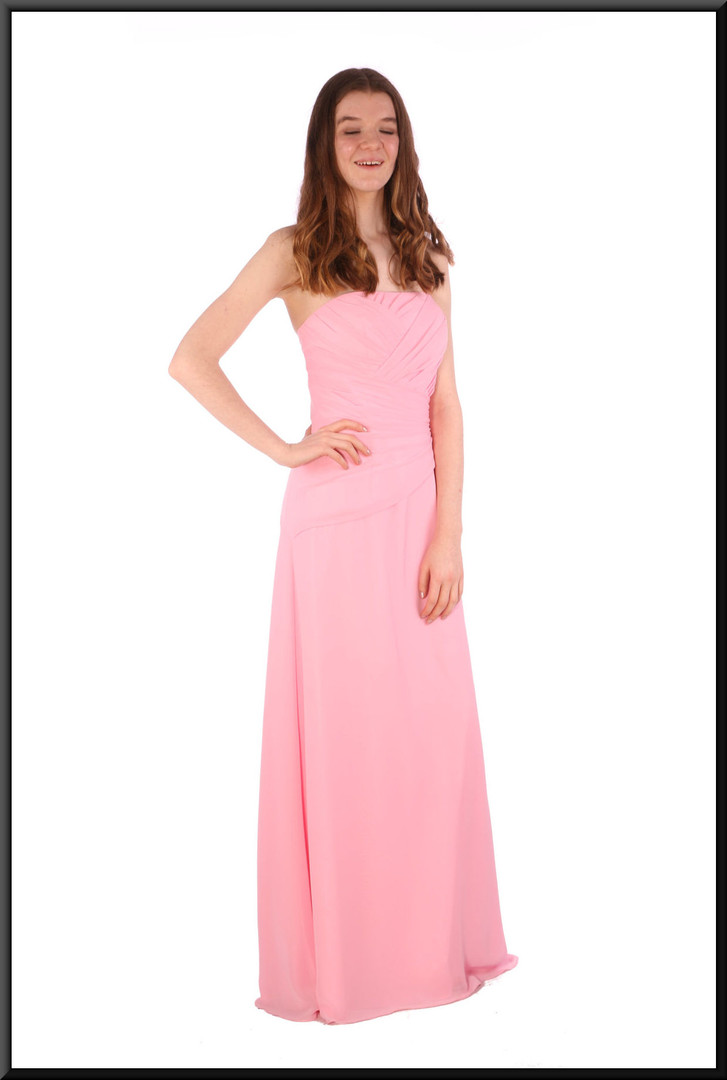 """Strapless full length chiffon over satinette wedding dress with corset tie, optional straps - pink, size 10/12. Model height 5'7"""""""