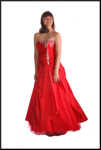 Multi-layered full length strapless evening gown with diamanté embellished bodice and net under-skirt, red, size 12