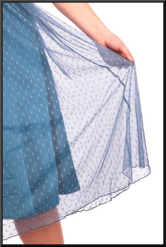 "Three quarter length dress layered chiffon over satin underlay - dark turquoise, size 14. Model height 5'4"""