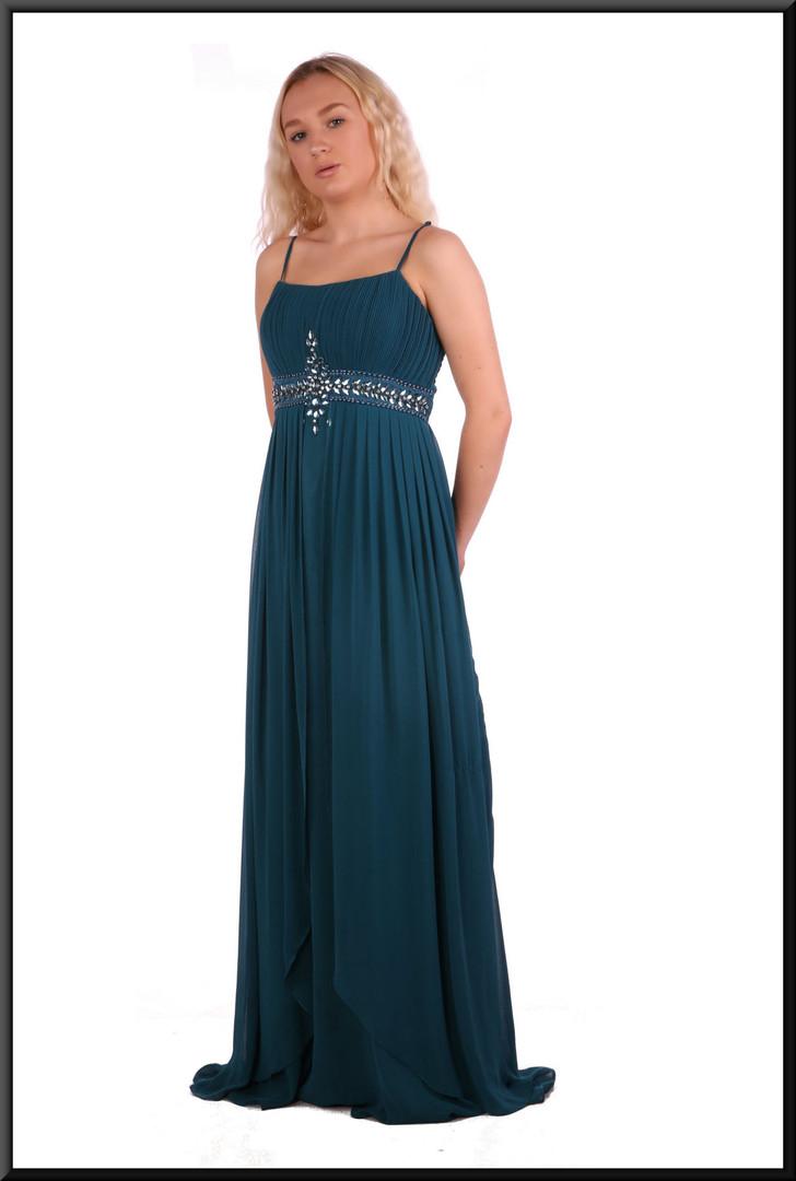 "Greek goddess style ankle length voile over satinette dress, size 6 / 8 in bottle green Model height 5'2"""