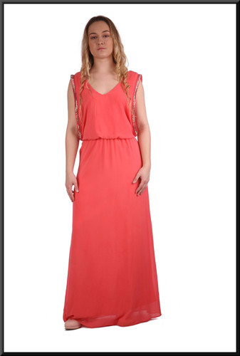 Greek style slimline double layer evening dress with double layer bodice in salmon pink. Size 6.  Model height 5'3""