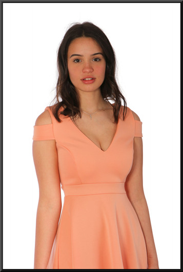 """Variable length polyester cocktail dress, lobster pink, size 10, model height 5'7"""""""
