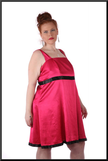 """Simple satinette mini dress with black pseudo-belt and hem line, size 18in shocking pink. Model height 5'7"""""""