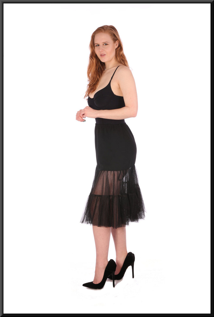"""Elasticated waist plain panel upper skirt with net flairs below – black, size 8 / 10 - pairs with cat no 208; model height 5'6"""""""