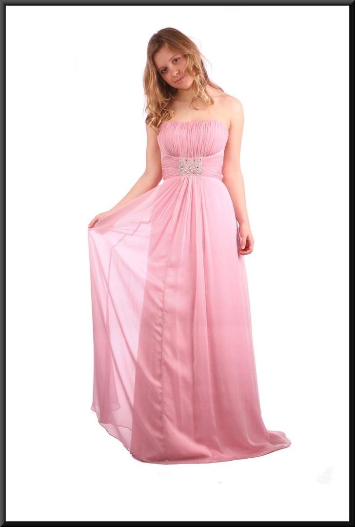 Full satin evening dress with net overlay
