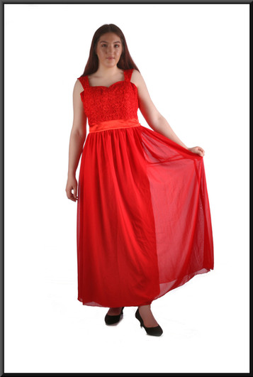 Ankle length chiffon over satinette bridesmaid / evening dress with embellished bodice and corset tie, red, size 12 / 14