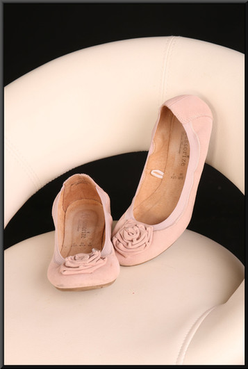 Ladies' felt effect pink ballet shoes with runner soles size 5
