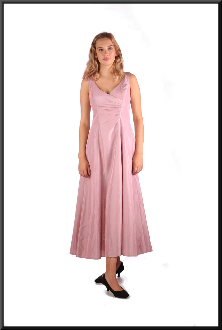 Calf length satinette slimline ruched bodice with flared skirt, pink, size 8, model height 5'10""