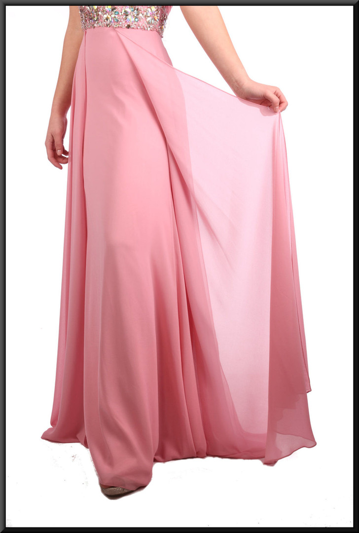 """Full length satinette evening dress with split net overlays and jewelled bodice - pink, size 6. Model height 5'7"""""""