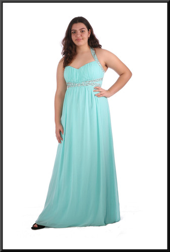 """Full length chiffon over satinette evening dress with gem and sequin bodice - pale blue, size 16; model height 5'8"""""""