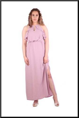 Calf length slit side 100% polyester dress with embellished bodice, size 12 in lilac.  Model height 5'7""