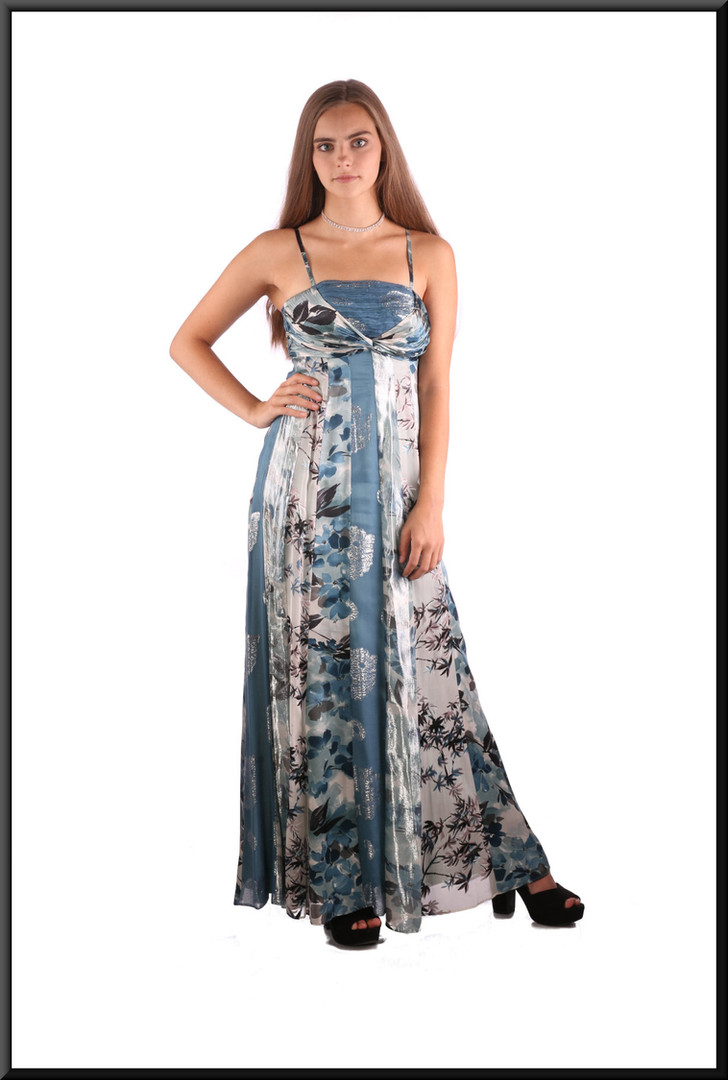 Boho style satinette multi-tone ankle-length evening / party dress, multi-coloured blue, size 4 / 6, model height 5'2""