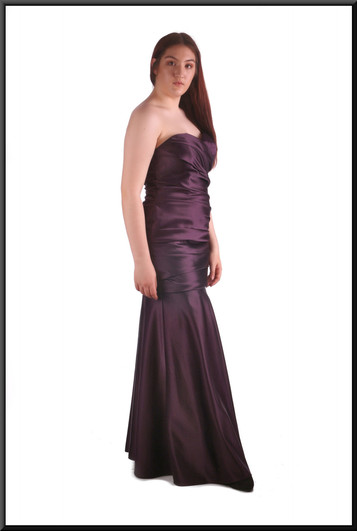 Full length strapless evening dress with diagonally ruched bodice and under-bust, plum, size 14