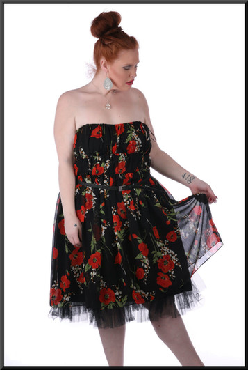 Size 16/18 Knee-length strapless dress, belt, multi-layer under-skirt in net - black with poppies pattern