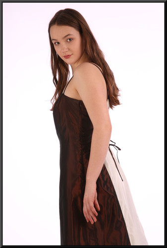 """Unusual two-tone ankle length satin(ette) evening dress with lace tie back - bronze and pale cream, size 10 / 12 Model height 5'7"""""""